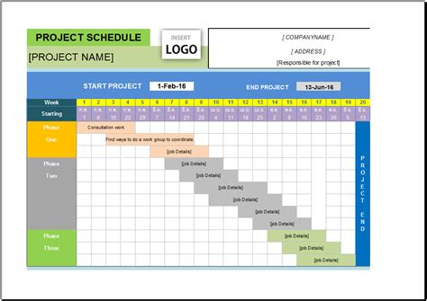 excel project planner template using chart for project management