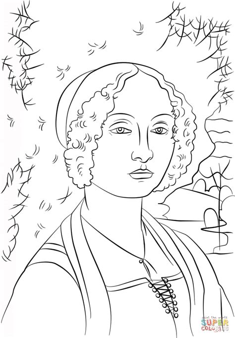 Portrait Of Ginevra Benci By Leonardo Da Vinci Coloring Da Vinci Printable Coloring