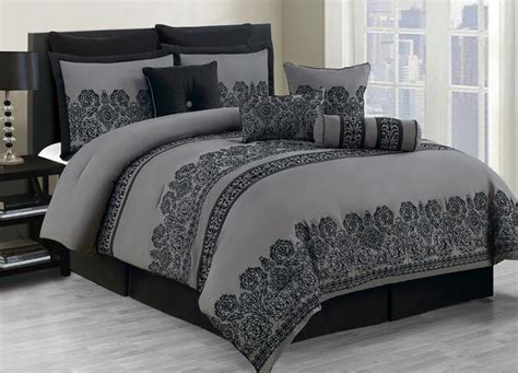 Black Grey Bedding Sets 10 King Miya Black And Gray Comforter Set Ebay