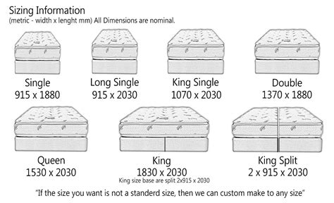 bed sizes chart us the sandman mattress factory 100 australian wool