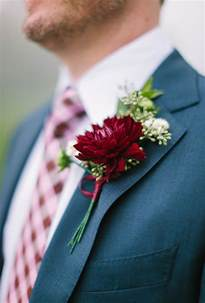wedding boutonnieres boutonniere with burgundy dahlia and seeded eucalyptus wedding flowers photos brides