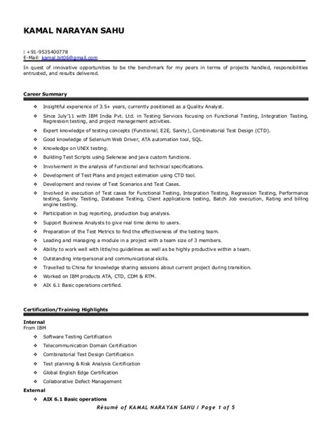 Manual Testing Resume by 1 Year Experience Resume Format For Manual Testing