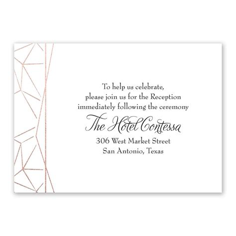 Wedding Invitation Card Lines by Clean Lines Foil Reception Card Invitations By