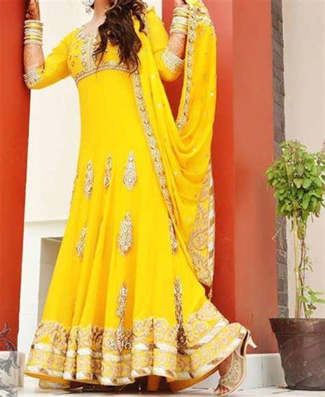 stylish designs mehndi mayon yellow dress frock stylish designs 2015