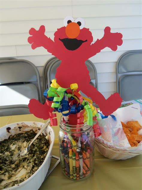 Elmo Centerpiece With Crayons Elmo Abby Party Elmo Centerpieces Decorations