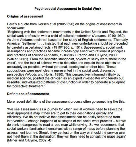 9 Sle Psychosocial Assessments Pdf Doc Sle Templates Social Work Documentation Template