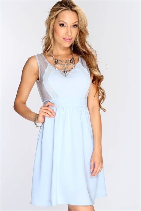 Casual Light Blue Dress by Light Blue Sheer Sleeveless Casual Dress