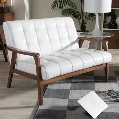 white faux leather loveseat baxton studio masterpiece mid century white faux leather