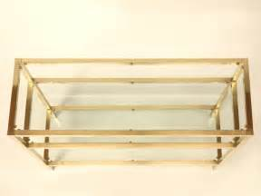 Brass Console Table Vintage Modern 3 Level Brushed Brass And Glass Console Table For Sale At 1stdibs