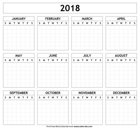 free printable 2018 wall calendar hand lettered