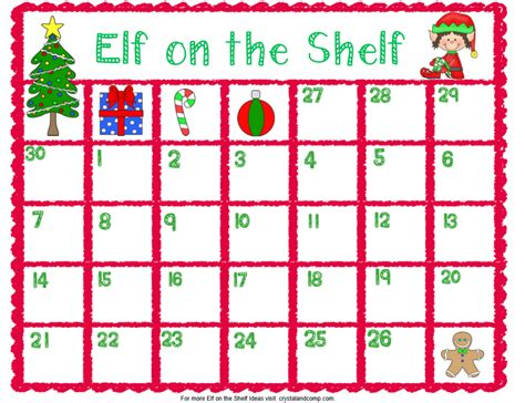 Printable Elf On The Shelf Image | elf on the shelf printable planning calendar