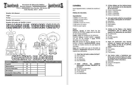 Examen Del Tercer Grado Del Cuarto Bloque Del Ciclo | examen del tercer grado del cuarto bloque del ciclo