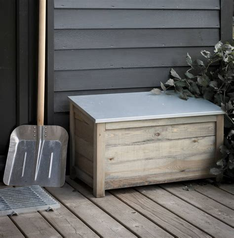 outdoor shoe box storage galvanised garden storage box by the forest co
