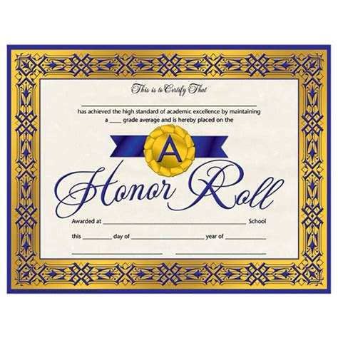 blue ribbon a honor roll student certificate teaching