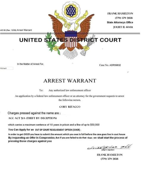 Federal Arrest Warrant Search Ripoff Report Frank Hamilton Complaint Review Joliet