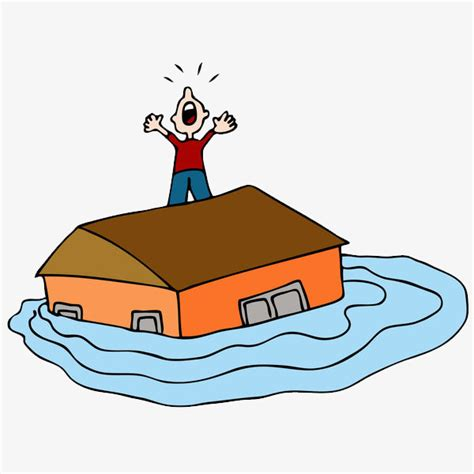 flood clipart illustration flood victims standing on rooftops
