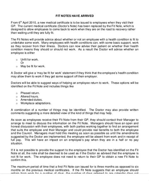statement of fitness for work template fit note sle 8 exles in word pdf