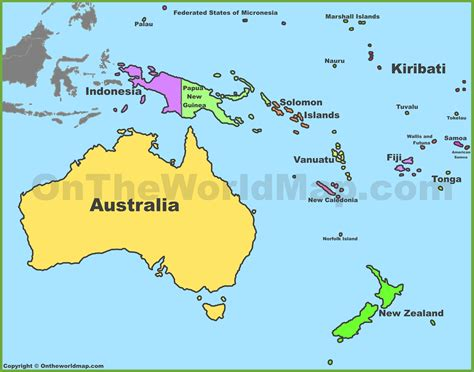 australia and oceania map political map of australia and oceania