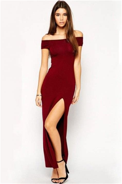 lucluc burgundy shoulder hollow out slit maxi dress