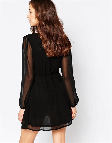 lyst madam rage wrap front dress with sheer sleeves in black