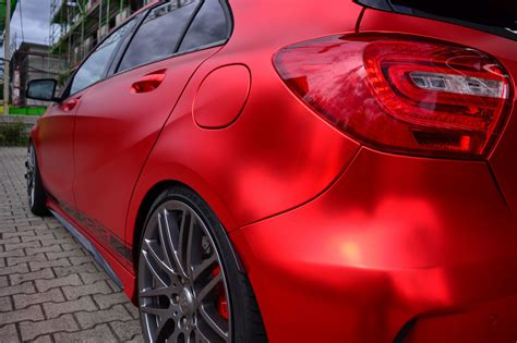 chrom matt a45 amg mit vollfolierung in matt chrom rot w176