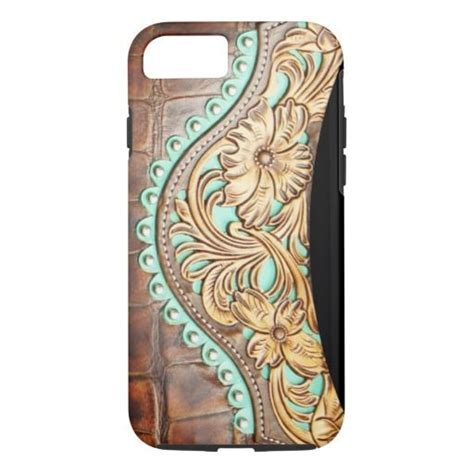 tooled leather iphone 4 case western style turquoise and tooled leather look iphone 7