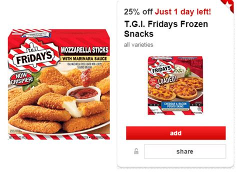tgif frozen food printable coupons new 25 off tgi fridays frozen snacks cartwheel offer