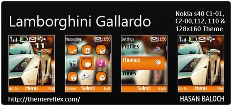lamborghini themes for nokia c3 lamborghini gallardo theme for nokia c1 01 c2 00 110