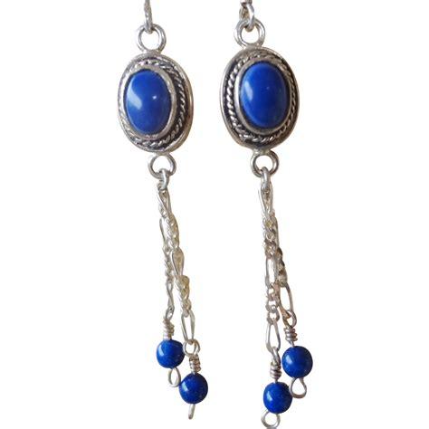 vintage lapiz lazuli sterling silver dangle style earrings