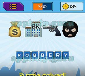 emojination: emojis money bag, bank, gun, robber answer