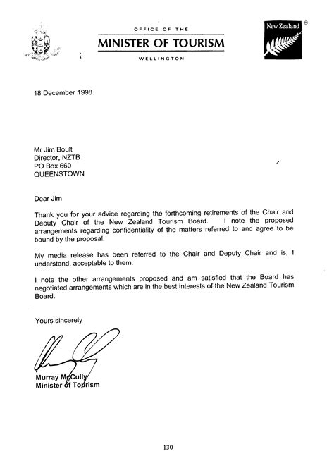Resignation Letter Exle New Zealand Appendix 8 The Minister S Letter To The Board Of 18 December 1998 Office Of The Auditor