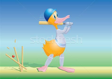 cricket duck cricket duck bowled vector illustration 169 steve bridger