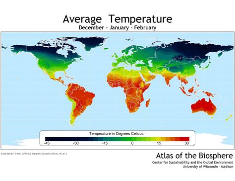 average january temperature world map center for sustainability and the global environment