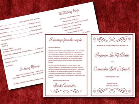half fold wedding program template 9 best images of half fold wedding program template