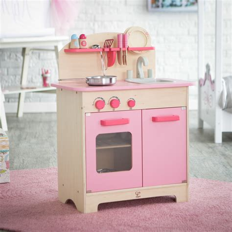 hape pink gourmet play kitchen with accessories play