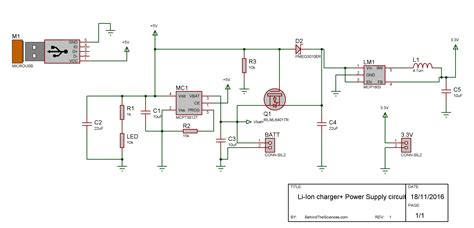 usb lithium ion charger  backup power supply circuit   sciences