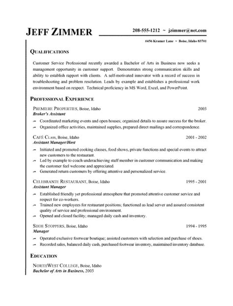 resume format for customer support customer service resume exle business assistant host