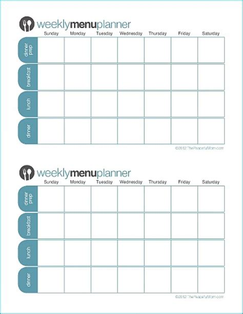 two week meal plan template click to print tpm customizable two week menu planner