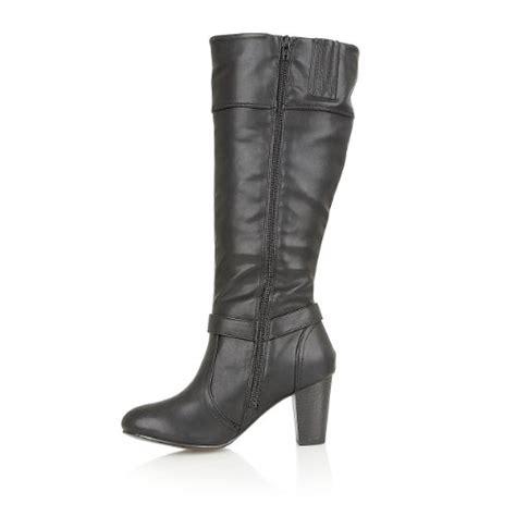 womens designer leather insole block heel zip