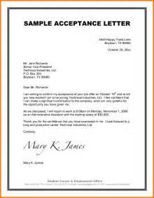 Acceptance Letter Template 6 Company Acceptance Letter Sample Mileagelog