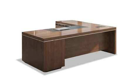 Office Table L L Shaped Office Desk In Walnut With Leather Trim S Cabin