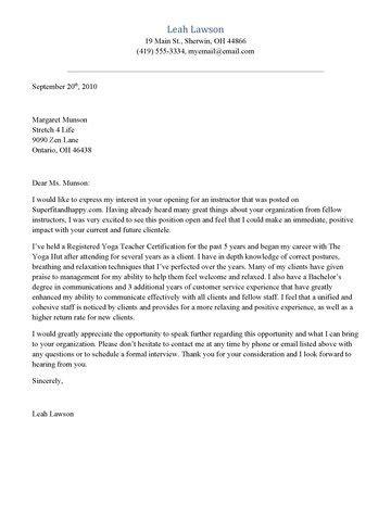 yoga resume template idea of yoga instructor cover letter sample