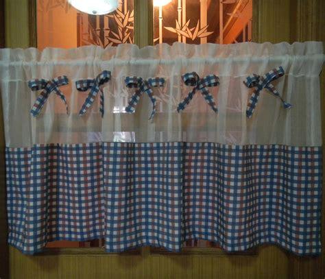 blue plaid short curtain finished product translucidus