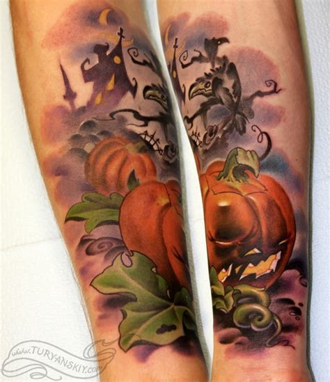 newspaper themed tattoo the 17 spookiest pumpkin tattoos mtv
