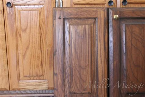 gel stain oak cabinets to walnut gel stain cabinets and trim