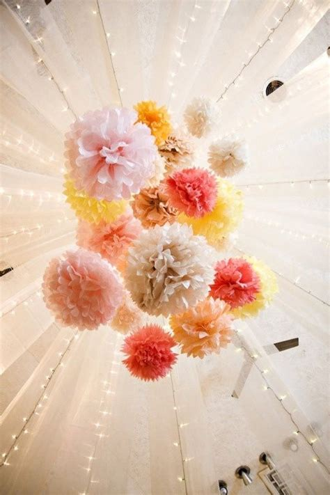 ceiling pom poms beautiful paper flower ceiling decor wedding decor
