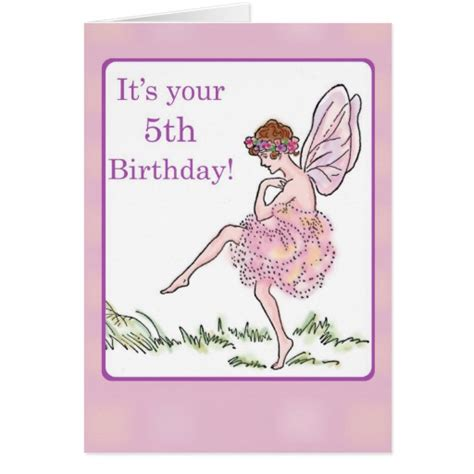 Happy 5th Birthday Wishes To My Happy 5th Birthday Fairy For Girl Greeting Card Zazzle
