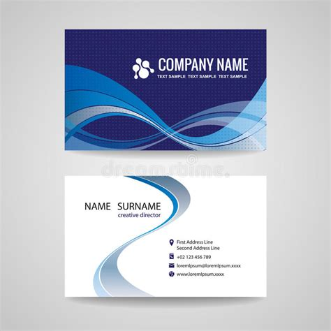 wave business card template free word business card template abstract blue wave design stock