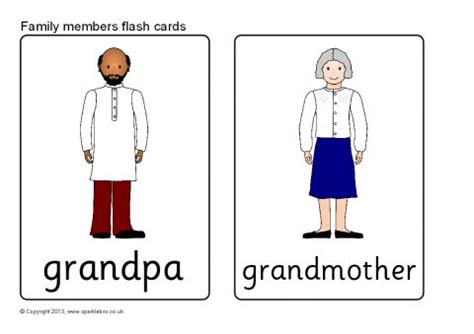 family members flash cards (sb9287) sparklebox
