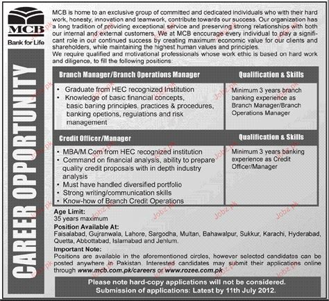 branch manager branch operations manager required 2017 2018 pakistan jobz pk